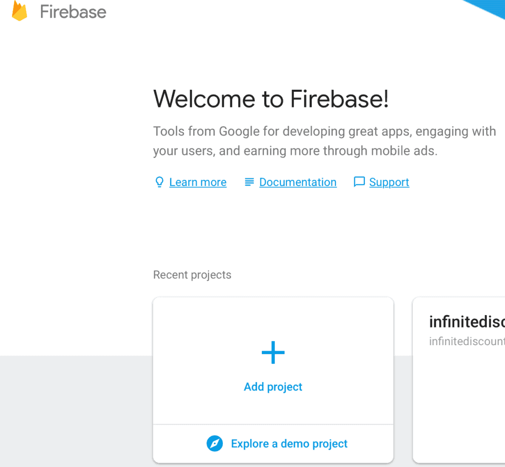 firebase welcome screenshot