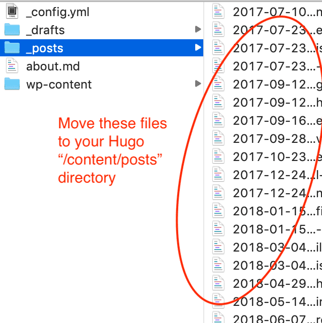 list of markdown posts files screenshot