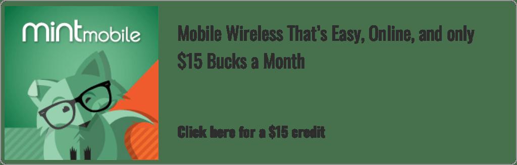 mint mobile banner for 15 dollar credit