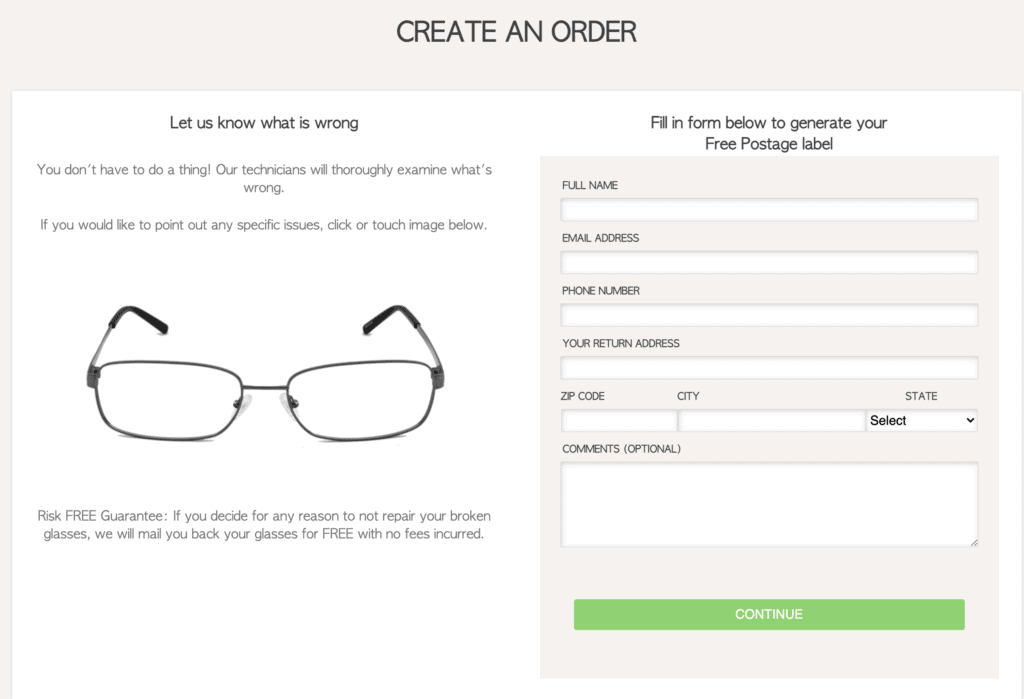 fixmyglasses order page